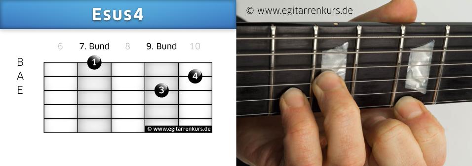 Esus4 Gitarrenakkord Voicing 4