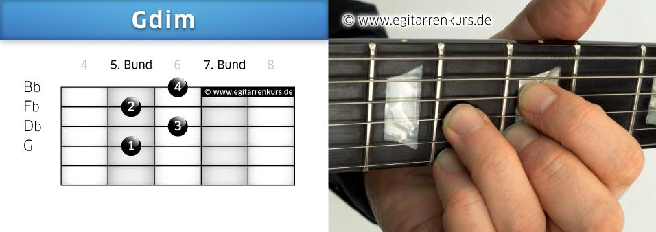 Gdim Gitarrenakkord Voicing 4